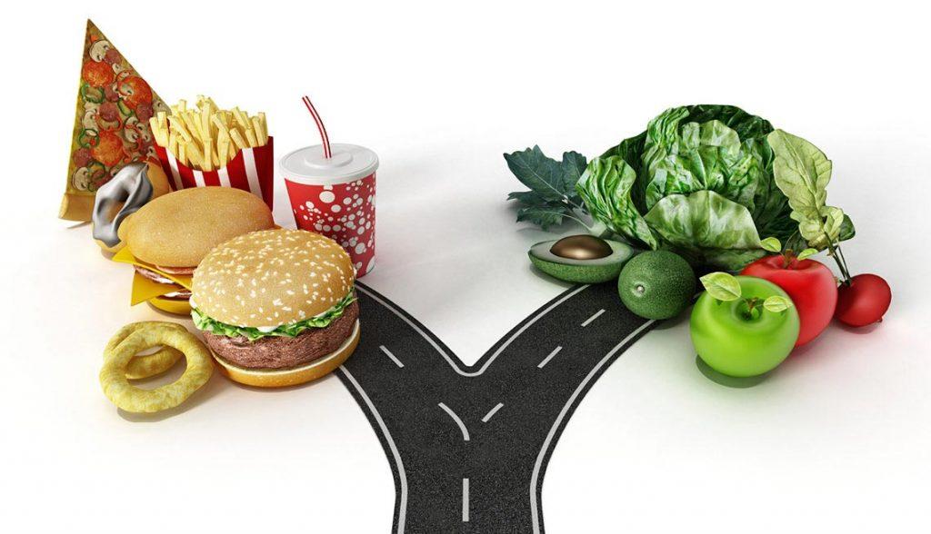 Comida chatarra Vs comida saludable